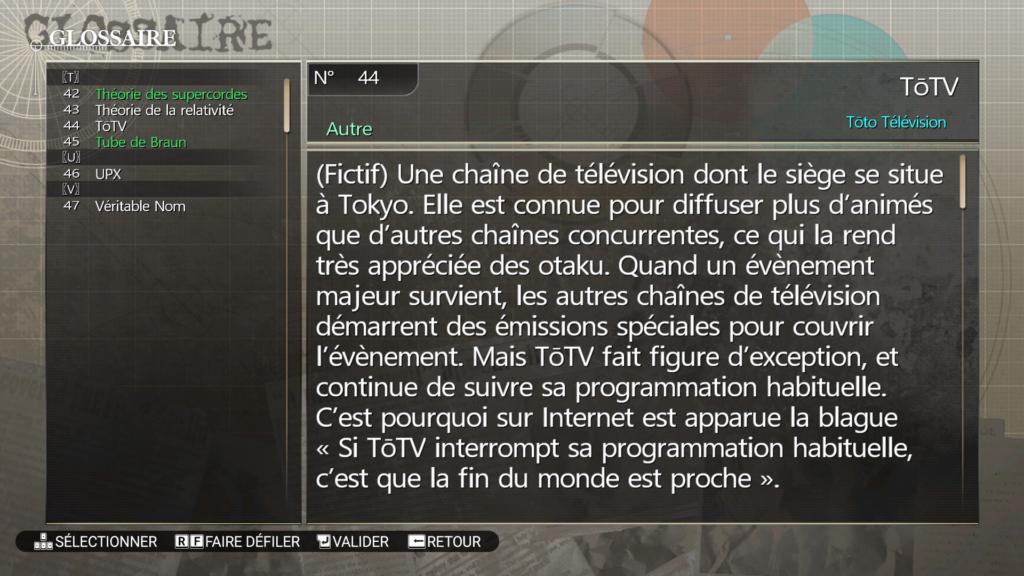 Capture d'écran d'une entrée du glossaire de la traduction française de Steins;Gate.