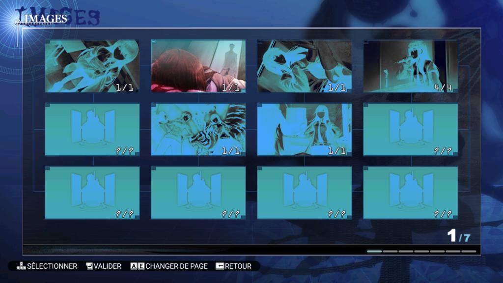 Capture d'écran du menu «Images» de la traduction française de Steins;Gate.